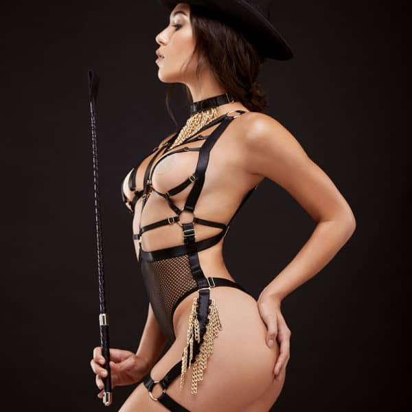 Roleplay costume body harness g-string high waist with bare back and open breasts in black fishnet and gold chains drop BAED STORIES at Brigade Mondaine