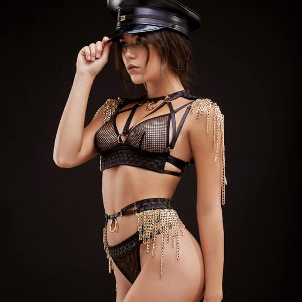 Roleplay costume with thong and belt and triangle bra in fishnet and satin cross-over with epaulets and gold chains BAED STORIES at Brigade Mondaine