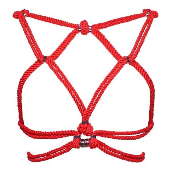 Красный жгут веревки сибари, обвязанный вокруг груди и обнаженной спины Рисунок А в 1ТП5Т