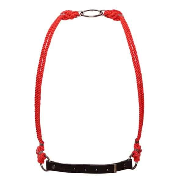 Red shibari bondage knotted rope bust harness Figure of A at Brigade Mondaine