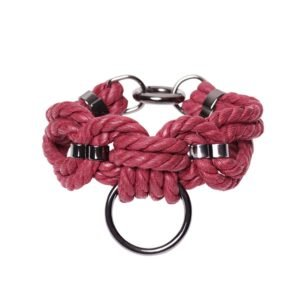 Bracelet en corde Shibari bondage rouge avec anneau Figure of A chez Brigade Mondaine