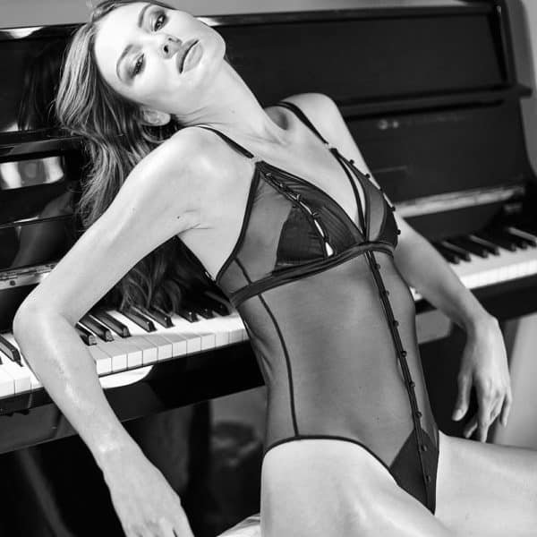 Black mesh and satin body, triangle bra and halter top that can be fully opened with satin buttons Atelier Amour at Brigade Mondaine