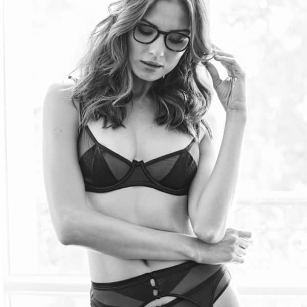 Mesh and black satin basket bra from the Douce Insomnie collection at Atelier Amour at Brigade Mondaine
