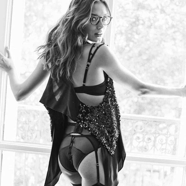 Culotte en mesh et satin noir ouverte et ouvrable grâce à des boutons de satin Atelier Amour chez Brigade Mondaine