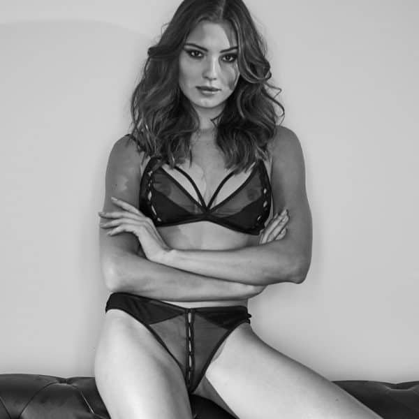 G-string made of mesh and black satin that can be opened with satin buttons Atelier Amour at Brigade Mondaine
