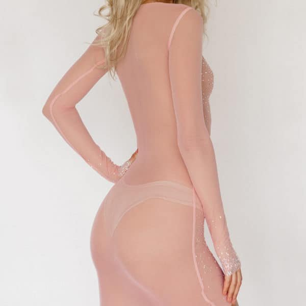 Pale pink mesh dress with long sleeves inlaid with Swarovski Crystal Eyez at Brigade Mondaine