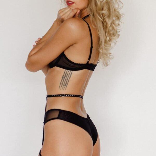 Velvet elastic garter body harness with Swarovski Crystal Eyez inlay at Brigade Mondaine