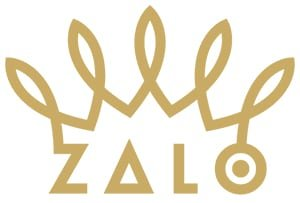 ZALO brand logo with gold writing and a design joining the Z to the O