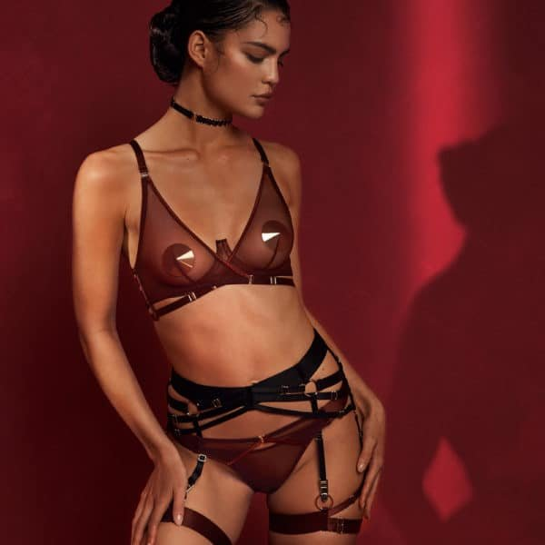 Lingerie set with cross-over bra and thong and garter belt in transparent mesh and satin elastic BORDELLE MERIDA at Brigade Mondaine