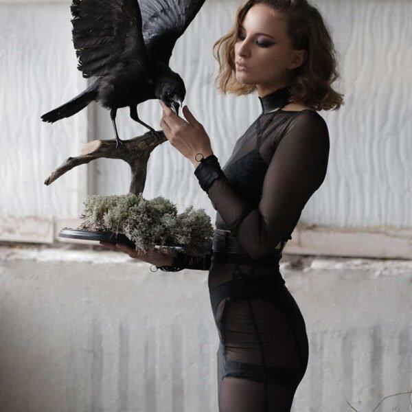 High waist skirt in black transparent mesh FLASH YOU AND ME at Brigade Mondaine