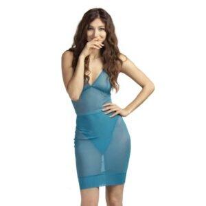 Body string et dos nu et jupe taille haute en mesh transparent bleue FLASH YOU AND ME chez Brigade Mondaine