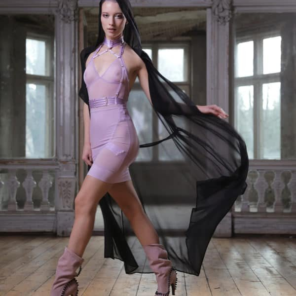 G-string bodysuit and halter top and high waist skirt in lavender transparent mesh FLASH YOU AND ME at Brigade Mondaine