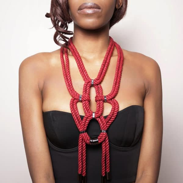 Burgundy red shibari knotted rope necklace with nickel-free metal details Figure of A at Brigade Mondaine