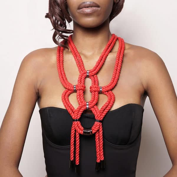 Red shibari knotted rope necklace with nickel-free metal details Figure of A at Brigade Mondaine