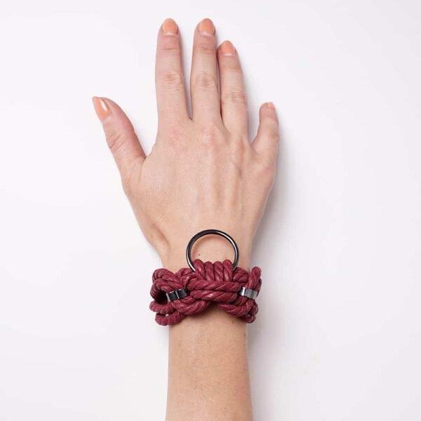 Shibari bondage rope bracelet red burgundy with ring Figure of A at Brigade Mondaine