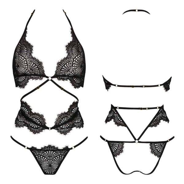 Medias de encaje negro de Madame Rêve con lazos en la espalda y bragas abiertas y cinturón alrededor de la cintura Atelier Amour a Brigade Mondaine