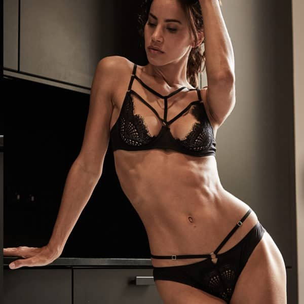 Black lace and elastic open panty set and black lace basket bra set front view worn collection Madame Rêve d'Atelier Amour at Brigade Mondaine