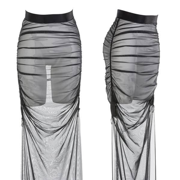 Black pleated tulle and elasticated lurex skirt handmade by Carmen GONZALES at Brigade Mondaine