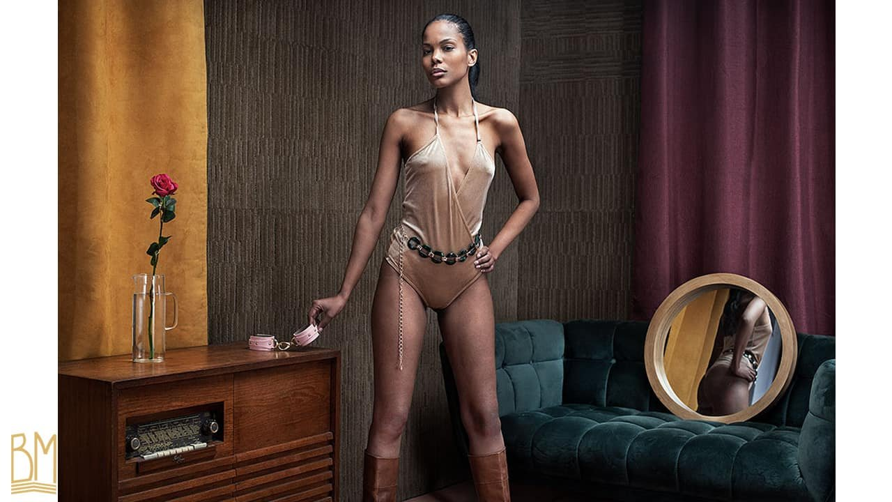 Shooting of Cindy Porto by Martial Lenoir for Brigade Mondaine. The model is wearing the Sidse Bodysuit by OW Intimates.