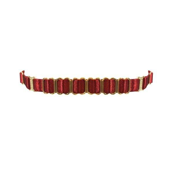 Эластичный чокер из красного атласа с золотыми деталями BORDELLE на Brigade Mondaine