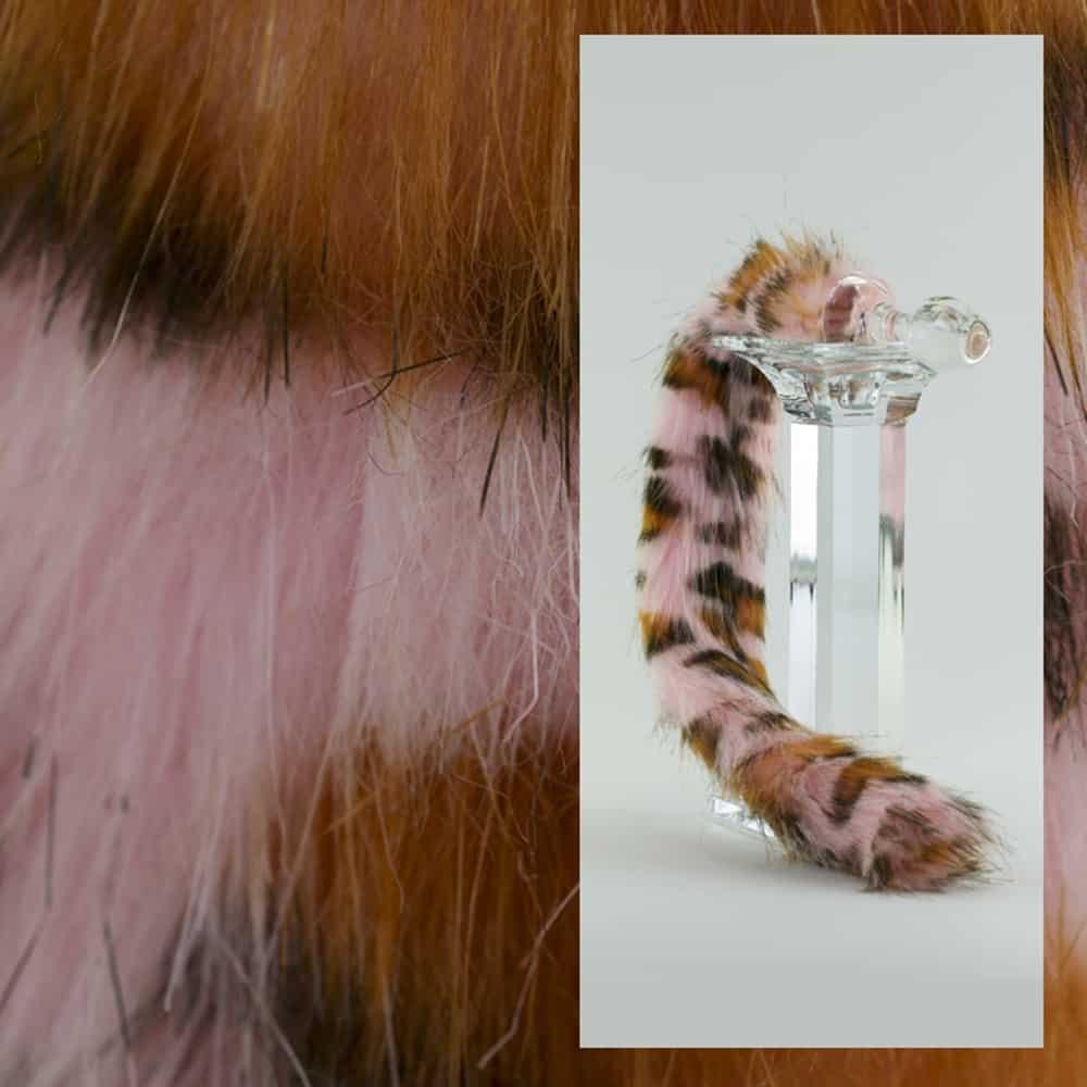 Tapón anal de leopardo rosa hecho a mano Hecho a mano de vidrio de borosilicato CRYSTAL DELIGHTS en Brigade Mondaine