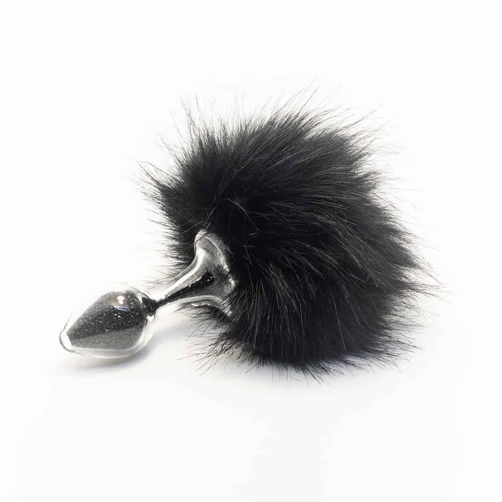 Tapón anal de conejo negro extraíble Brillo en vidrio de borosilicato CRYSTAL DELIGHTS a Brigade Mondaine