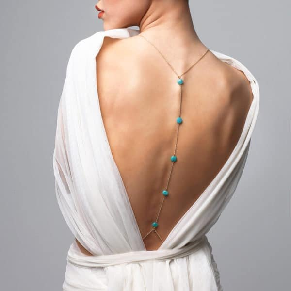 FUNGI body jewellery with blue beads and halter at Brigade Mondaine