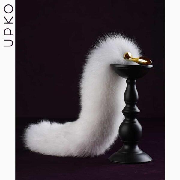 Tapón anal en piel de zorro blanco en forma de cola de zorro o cola de conejo UPKO a Brigade Mondaine