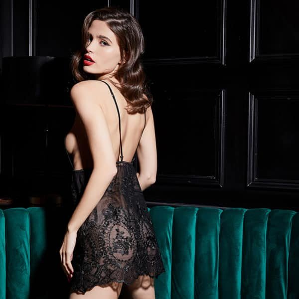 Babydoll in transparent black lace and bare back UPKO at Brigade Mondaine