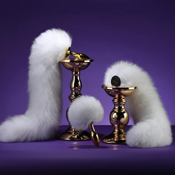 Anal Plug UPKO in white fox fur in the shape of fox tail or rabbit tail UPKO at Brigade Mondaine