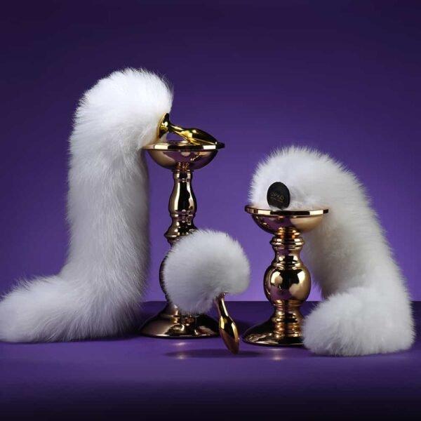 Plug anal UPKO en fourrure de renard blanche en forme de queue de renard ou queue de lapin UPKO chez Brigade Mondaine
