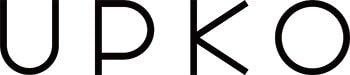 Логотип бренда UPKO черными заглавными буквами