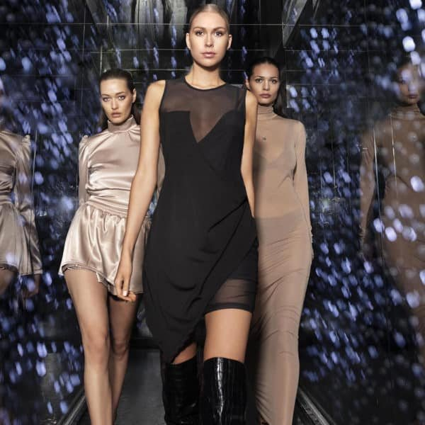 Black JOSY dress with semi-transparent legs and bust by OW INTIMATES at BRIGADE MONDAINE