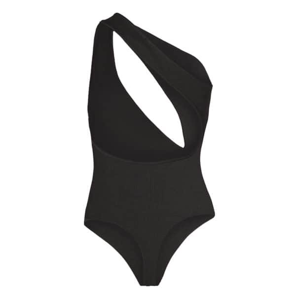 Black NADINE bodysuit with oval opening and sleeveless halter by OW INTIMATES at BRIGADE MONDAINE