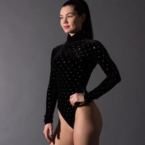 Velvet high collar and long sleeves bodysuit with Swarovski Crystal Eyez