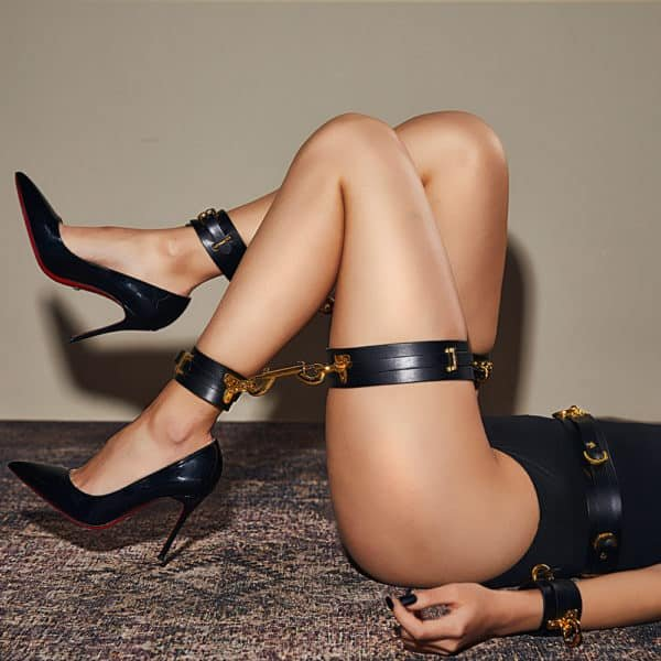 Black ankle cuffs attached to leather garters with gold details