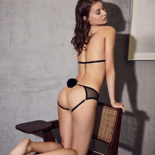 Black harness with a triangular lace part at the level of the neck and black panties open on the buttocks with small black rabbit tail