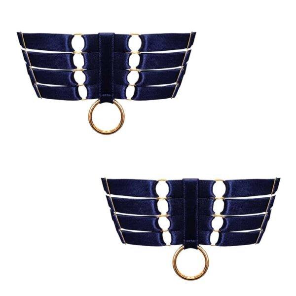 Ligas de raso azul marino de bondage elástico con anillo d' ribete dorado BORDELLE en Brigade Mondaine