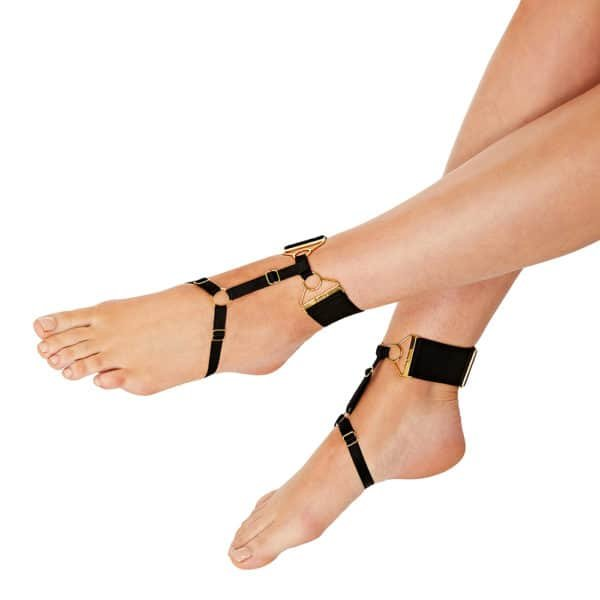 Black ankle harness in satin elastic and 24 Carat gold-plated adjustable elastic from BORDELLE REY collection at BRIGADE MONDAINE