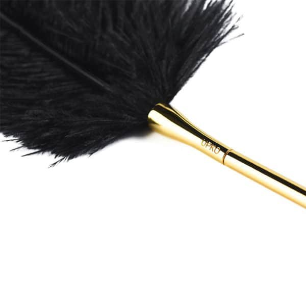 Plumín negro con mango dorado para la estimulación y los juegos UPKO en Brigade Mondaine