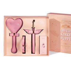 d&#039 подарочная коробка;d&#039 комплект;розовые кожаные аксессуары BDSM с воротником, поводком, лопаткой для шлепанья и низкотемпературной восковой свечой UPKO на Brigade Mondaine