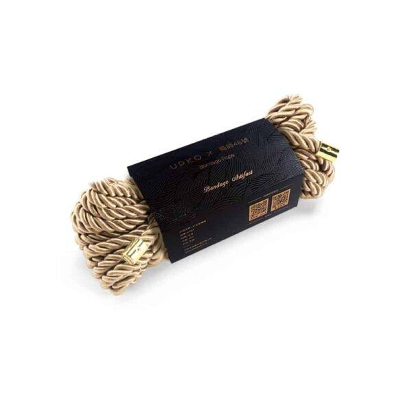 Cuerda shibari de nylon dorado para ataduras de esclavitud UPKO en Brigade Mondaine