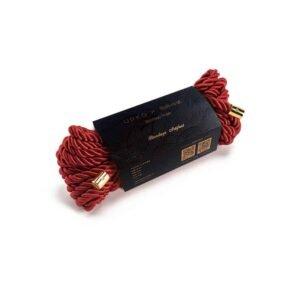 Red nylon shibari rope for UPKO bondage ties at Brigade Mondaine