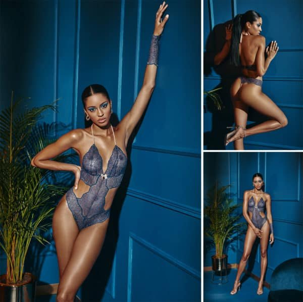 G-string bodystocking with stimulating pearls and blue lace satin attachments SYDNEY collection with small bow on the front BRACLI at Brigade Mondaine