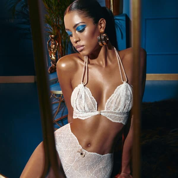 Bra with ivory lace beads and satin tie SYDNEY collection with small bow on the front BRACLI at Brigade Mondaine