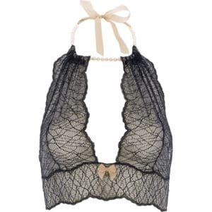 Bralette with pearls and black lace satin tie SYDNEY collection with small bow on the front BRACLI at Brigade Mondaine