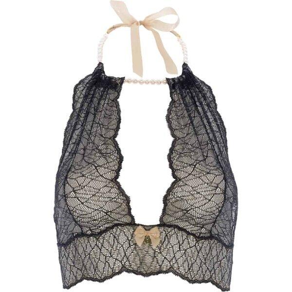 Bralette avec perles et attache satin en dentelle noire collection SYDNEY avec petit noeud sur le devant BRACLI chez Brigade Mondaine