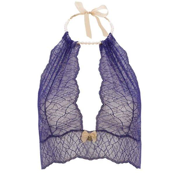 Bralette avec perles et attache satin en dentelle bleue collection SYDNEY avec petit noeud sur le devant BRACLI chez Brigade Mondaine
