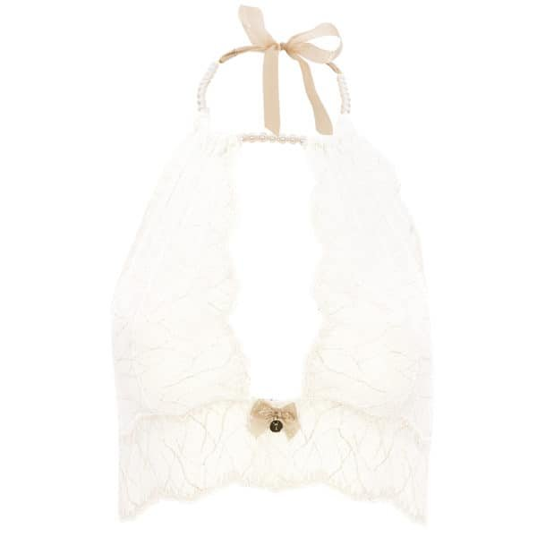 Bralette with ivory lace beads and satin tie SYDNEY collection with small bow on the front BRACLI at Brigade Mondaine