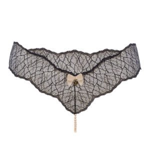 G-string with stimulating pearls in black lace SYDNEY collection with small bow on the front BRACLI at Brigade Mondaine